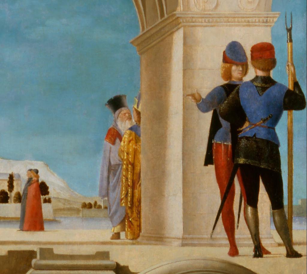 Antonello da Messina (1430–1479), San Sebastiano (particolare), 1475-1476?, 1478? olio su tavola trasportata su tela, 171×85,5 cm, Dresda, GemäldegalerieAntonello da Messina, San Sebastiano, 1475-1476?, 1478? olio su tavola trasportata su tela, 171×85,5 cm, Dresda, Gemäldegalerie