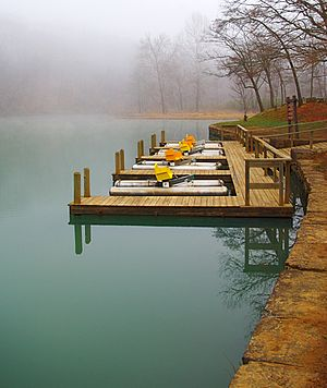 Devil's Den State Park - Pedal boat dock on Lake Devil