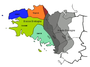 Linguistic boundary of Brittany - Decline of the Breton language from the 10th to the 20th century.