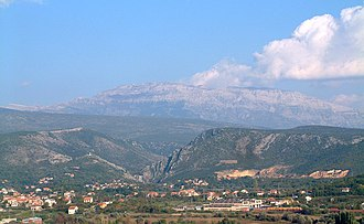 Geography of Croatia - Dinara seen from Knin