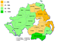 Districts of Northern Ireland by percentage Catholic 2011.png