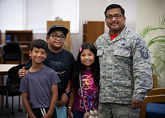 Department of Defense Education Activity - Military-connected kids with father in DoDEA Pacific.