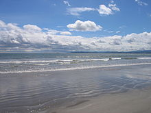 A photograph of a beach.