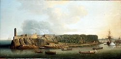 Dominic Serres the Elder - The Capture of Havana, 1762- The Morro Castle and the Boom Defence Before the Attack.jpg