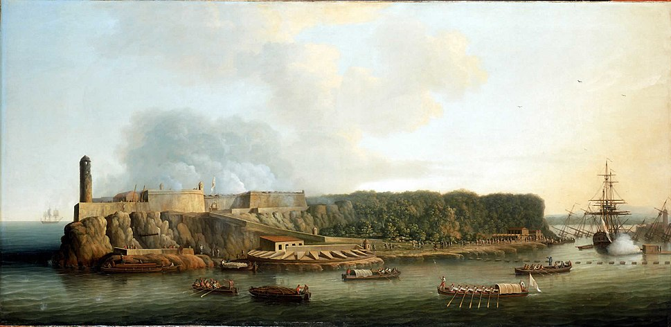Dominic Serres the Elder - The Capture of Havana, 1762- The Morro Castle and the Boom Defence Before the Attack