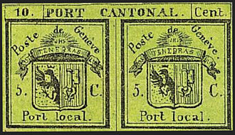 """Postage stamps and postal history of Switzerland - The """"Double Geneva"""" was designed to be usable for both local and cantonal rates."""