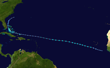 An image depicting the track of a long-lived tropical cyclone.