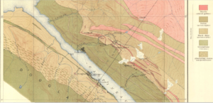 Douglas, Juneau - Geologic map showing the locations of Douglas and Treadwell