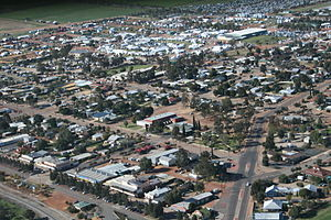 Dowerin, Western Australia - Photo of Dowerin from the air looking north-east, during the 2007 Dowerin GWN Field Days