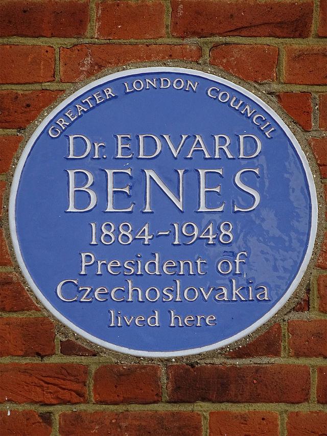 Edvard Benes blue plaque - Dr Edvard Benes 1884-1948 President of Czechoslovakia lived here
