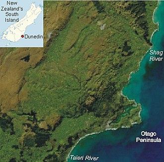 Otago Peninsula - Location of the Otago Peninsula on New Zealand's South Island.