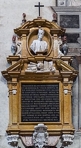 Duomo (Verona) - Interior - Nave left part - Monument to Francisco Bianchini.jpg