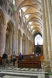 Durham Cathedral, England, has decorated masonry columns and the earliest pointed high ribs.pic Nina Aldin Thune