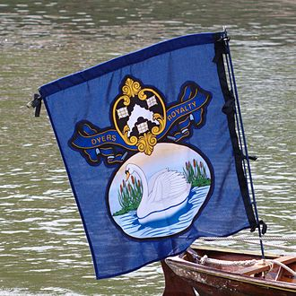 Worshipful Company of Dyers - Dyers' Company flag during Swan Upping