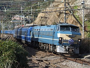 Hayabusa (train) - Combined Fuji/Hayabusa service hauled by an EF66 locomotive, March 2009