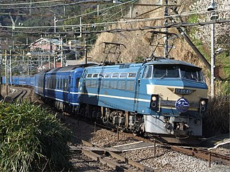 Hayabusa (train) - Combined Fuji/Hayabusa service hauled by an EF66 locomotive, March 2009