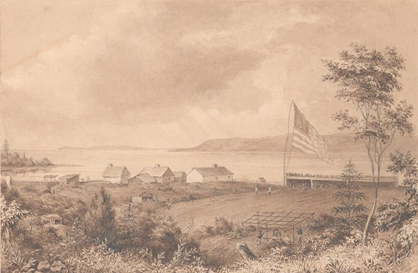 An image of Astoria in 1841 looking towards the mouth of the Columbia River.