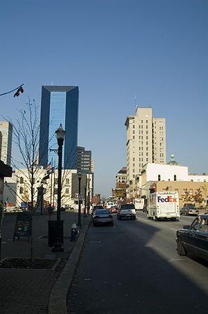 "Cityscape of Lexington, Kentucky - Looking down East Main Street in downtown Lexington. The ""Big Blue"" building on the left is the Lexington Financial Center."