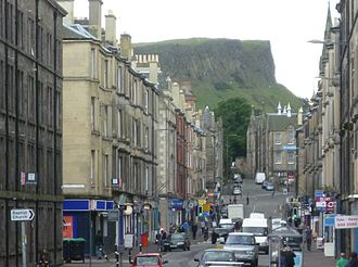 Easter Road, Edinburgh - Looking south up Easter Road, towards Salisbury Crags.