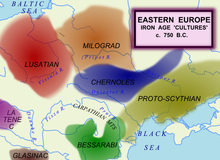 Map of eastern European cultures around 750 BC