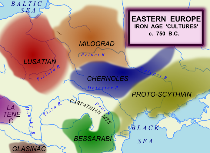 Eastern and Central Europe around 750 BC