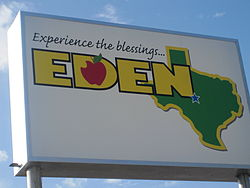 Eden, Texas welcome sign