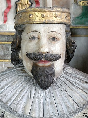Edward Bourchier, 4th Earl of Bath - Detail from effigy of Edward Bourchier, 4th Earl of Bath (d.1636) shown as a kneeling mourner beside the monument to his father William Bourchier, 3rd Earl of Bath (d.1623), Tawstock Church, Devon