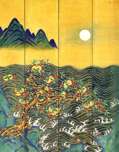 File:Eight-Fold Screen Painting of the Sun, Moon and Peach Trees 02.jpg