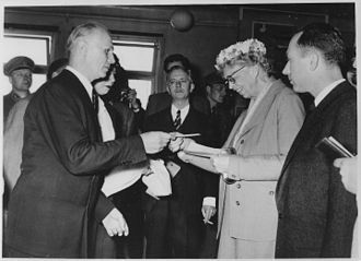 Eleanor Roosevelt meets exiled Hungarian revolutionaries at Camp Roeder in Salzburg, 10 May 1957 Eleanor Roosevelt and the Hungarian Freedom Fighters at Camp Roeder in Salzburg, Austria - NARA - 195987.jpg