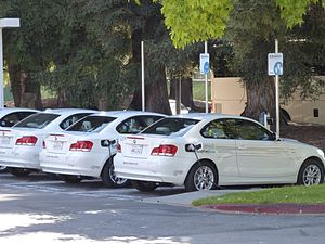 DriveNow - Several BMW ActiveE in service for DriveNow charging at Googleplex in Mountain View, California.