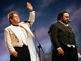 War Child (charity) - Elton John with Luciano Pavarotti during the 1996 Pavarotti & Friends concert for War Child in Modena, Italy
