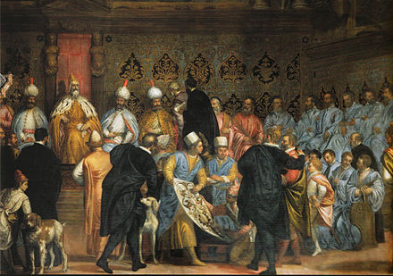 Fresco in the Doge's Palace, depicting Doge Marino Grimani receiving the Persian Ambassadors, 1599 Embassy to Europe.jpg