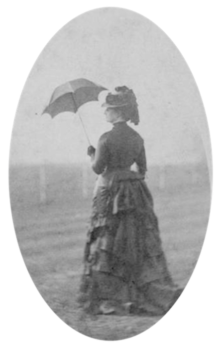 Empress Eugenie holding a small parasol, mid 1860s Empress Eugenie of the French holding a small parasol.png