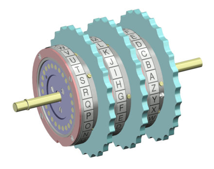 Depiction of a series of three rotors from an Enigma machine Enigma rotor set.png