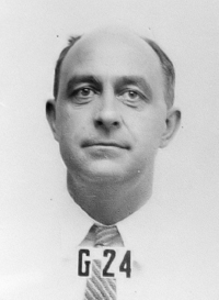 Fermi's ID badge photo from Los Alamos.