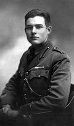 Ernest Hemingway in military uniform in 1918
