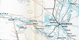 Battles of Ramadi (1917) - Map of the Euphrates from Ramadi to Baghdad in 1917