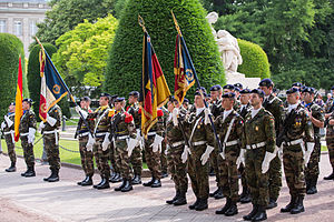 Military of the European Union - Personnel of the European Corps in Strasbourg, France, during a change of command ceremony in 2013