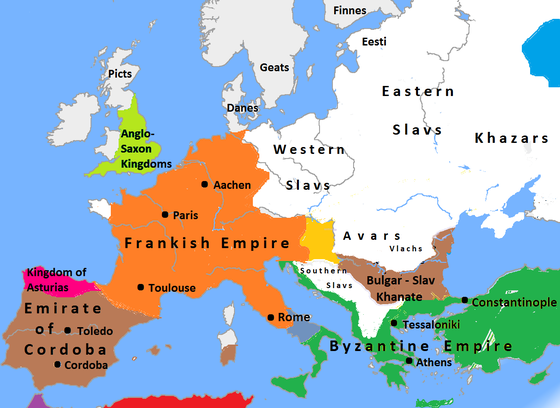 Europe around 814 Europe in 814, Charlemagne, Krum, Nicephorus I.png
