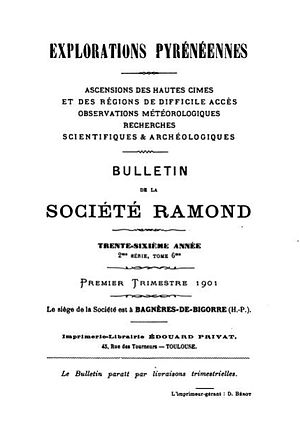 Société Ramond - Title page of Explorations pyrénéennes, 2nd series, vol. 6, 1901