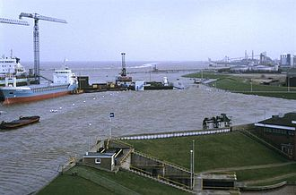 Flood control in the Netherlands - Sea dike keeping Delfzijl and surroundings dry in 1994