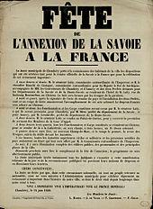 affiche de la fête de l'annexion de la Savoie à la France