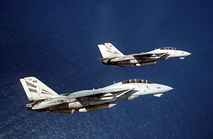VFA-154 - VF-154 F-14A Tomcats perform a section roll off Saipan in the Mariana Islands