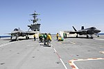 F-35C Lightning II aircraft are tested aboard USS Abraham Lincoln. (36915701802).jpg