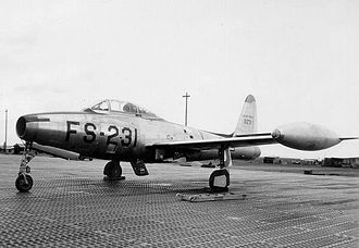 Republic F-84 Thunderjet - An F-84G at Chaumont-Semoutiers Air Base, France, in 1953