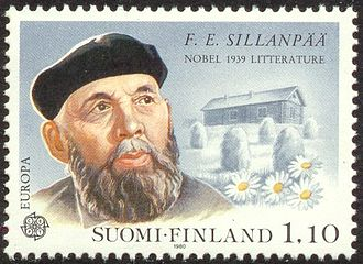 Frans Eemil Sillanpää - Poststamp released in 1980 in honour of Sillanpää.
