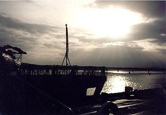 HMS Montrose (F236) - Montrose at dusk in Dundee Docks, 1998