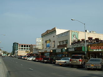 Austin E. Lathrop - Second Avenue in Fairbanks, 2005. The Empress Theater, Lathrop's first significant project in the community, is at center.