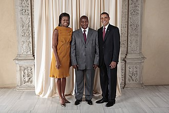 Central African Republic–United States relations - Image: Faustin Touadera with Obamas
