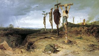 Spartacus - Crassus crucified 6,000 of Spartacus' followers on the road between Rome and Capua. 1878 painting by Fyodor Bronnikov.